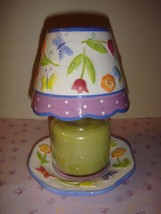 Yankee Candle Small Candle Shade And Plate Floral And Polka Dots - $18.49