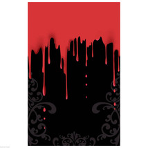 Gothic Horror-BLACK BLOODY DRIPS DOOR WALL TABLE COVER-Haunted House Dec... - $5.91