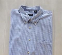 Izod Dress Shirt Short Sleeve Cotton Blue White Plaid Checked Big Men 2X... - $37.62