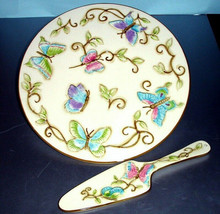 """Wedgwood Franciscan Primavera 12"""" Cake Plate & Server Hand Painted Butte... - $34.90"""