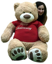 Happy Anniversary Giant 5 Foot Teddy Bear 60 Inch Soft T-Shirt Says HAPP... - $127.11