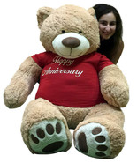 Happy Anniversary Giant 5 Foot Teddy Bear 60 Inch Soft T-Shirt Says HAPPY ANNIVE - $127.11