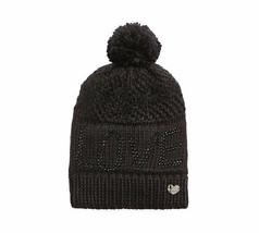 Betsey Johnson BLACK  LOVE Pom-Pom Beanie Knit Hat NWTS - $21.78