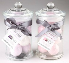 2 Glass Jars of Bath Bomb Fizzers 2x Bloom Gift Set 10 Mini Bombs Each