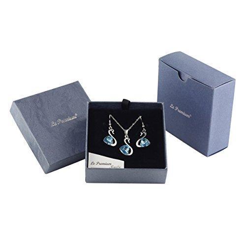 SHIP BY USPS: Jewelry Set Swan Pendant Necklace + Dangle Earring Heart Shaped Sw