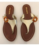 Prada Gold Flat Thong Sandal With Lucite Logo Buckle 37.5 - $175.00