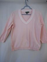 Lauren Ralph Lauren Pink White cotton blend Sweater Size L - $23.75