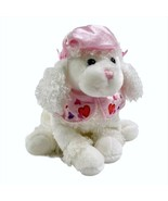 White Super Soft Plush Sitting FRENCH POODLE w Pink Beret & Matching Col... - $9.79