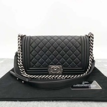 AUTHENTIC BRAND NEW CHANEL 2019 BLACK QUILTED LAMBSKIN MEDIUM BOY FLAP BAG RHW image 1
