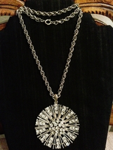 Vintage Retro Sparkling Crystal Sunburst Pendant Necklace - $35.00