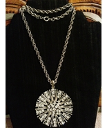 Vintage Retro Sparkling Crystal Sunburst Pendant Necklace - $35.00