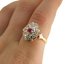 Art Deco Ruby and Diamond Ring 18k Gold Uk size N BHS - $721.41