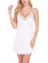 Women's Sexy Lingerie, V Neck Nightwear Satin Sleepwear Lace Chemise Min... - $49.95