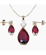 Best Red Crystal Gold Colour Earring /Pendant /Necklace Jewelry Sets For... - $26.70