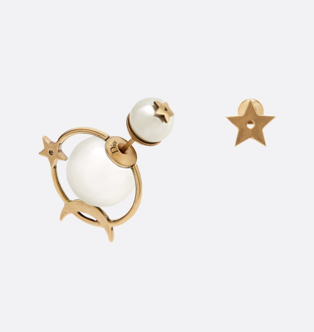 AUTH Christian Dior 2019 TRIBLES EARRINGS STAR PEARL GOLD