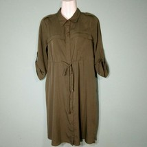 Motherhood Maternity Shirt Dress  Army Green 1/2 Button Tie Waist Size S... - $12.87