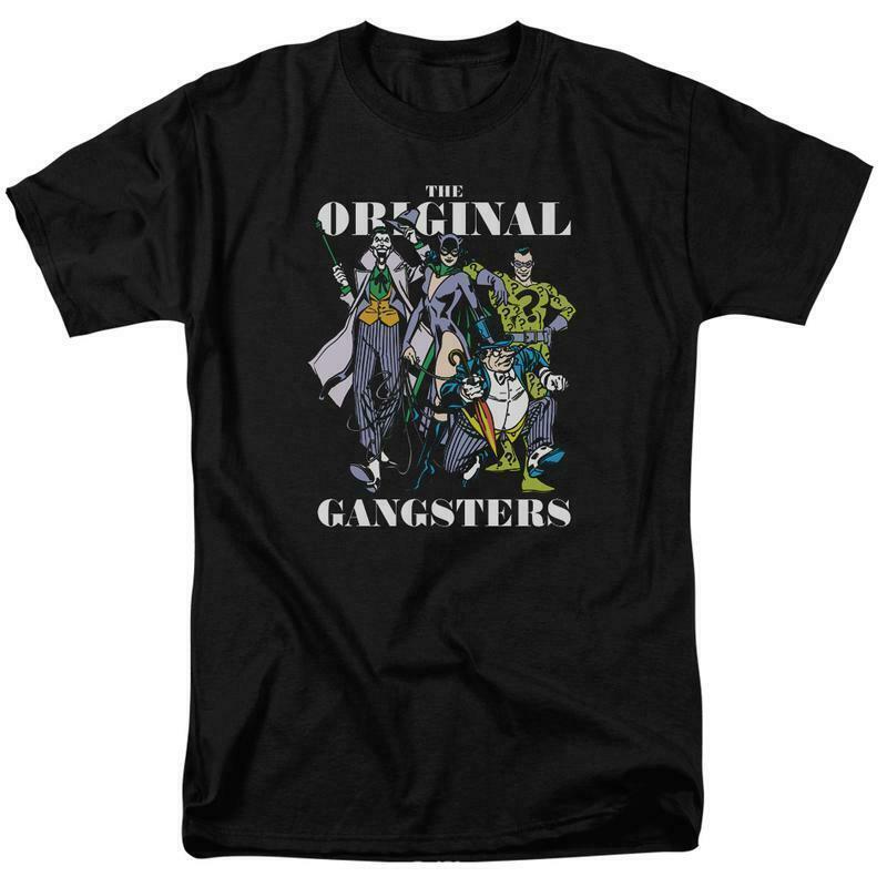Dc villians heroes t shirt retro 80s comic book joker riddler black tee dco821