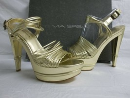 Via Spiga Size 7.5 M Aida Gold Leather Open Toe Heels New Womens Shoes SN9202B - $98.01
