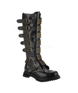 "DEMONIA Steam-30 Series 1 1/2"" Heel Knee-High Boots - Black Leather - $87.95"
