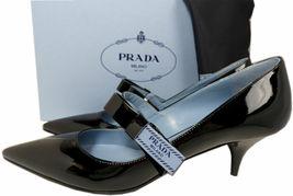 Taille 40 Prada Noeud Logo Cuir Noir Tennis Chaussures Bout Pointu Mary Jane image 3