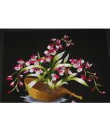 Silk Floral Orchid Oncidium Hmong Hand Embroidery Masterpiece Art Framin... - $474.99