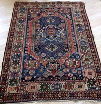 Handmade antique Caucasian Kuba rug 4' X 5.4' (122cm X 154cm) 1880s  - $2,750.00