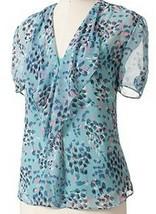 Elle Misses Brushstroke Chiffon Blue Blouse Top Camisole Set S Small - $24.74