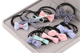 10Pcs Lovely Bowknot Girls Ponytail Holder Women Elastic Hair Ties, Mixed Color image 2