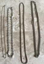 """VINTAGE RETRO FOUR SILVER TONE 16"""" - 18"""" CHAIN NECKLACES ONE STAMPED STE... - $18.99"""
