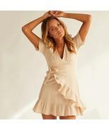 New beige V neck short sleeve sexy ruffle short women dress boho spring ... - $46.00