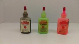 3 Vintage 1965 Mattel Plastigoop 3/4 oz. Bottles Black-Pink-Green Thingm... - $13.91