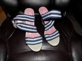Skechers Sidebar Navy Blue & White Wedge Sandal Shoe Size 10 Women's EUC... - $36.00