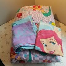 Disney Little Mermaid Reversible Twin Comforter Flat Sheet Pillowcase Pu... - $80.00