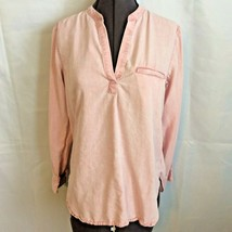 Gap Popover V Neck Shirt Top Size S Baby Pink Tencel Lyocell Long Sleeved Soft - $19.79