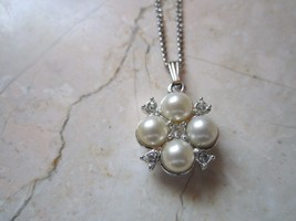 """SARAH COVENTRY SILVER TONE FAUX PEARL & CRYSTALS PENDANT  18"""" NECKLACE - $15.19"""