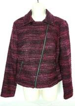 Dana Buchman Womens Blazer Coat Size 8 Diagonal Zip Up Black Red  - $40.28