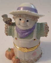 Lenox Treasures Harvest Friends Scarecrow Hinged Trinket Box With Charm - $24.75