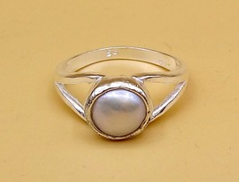 STERLING SILVER PEARL STONE RING FOR UNISEX GIFT FOR HER HIM - $24.74