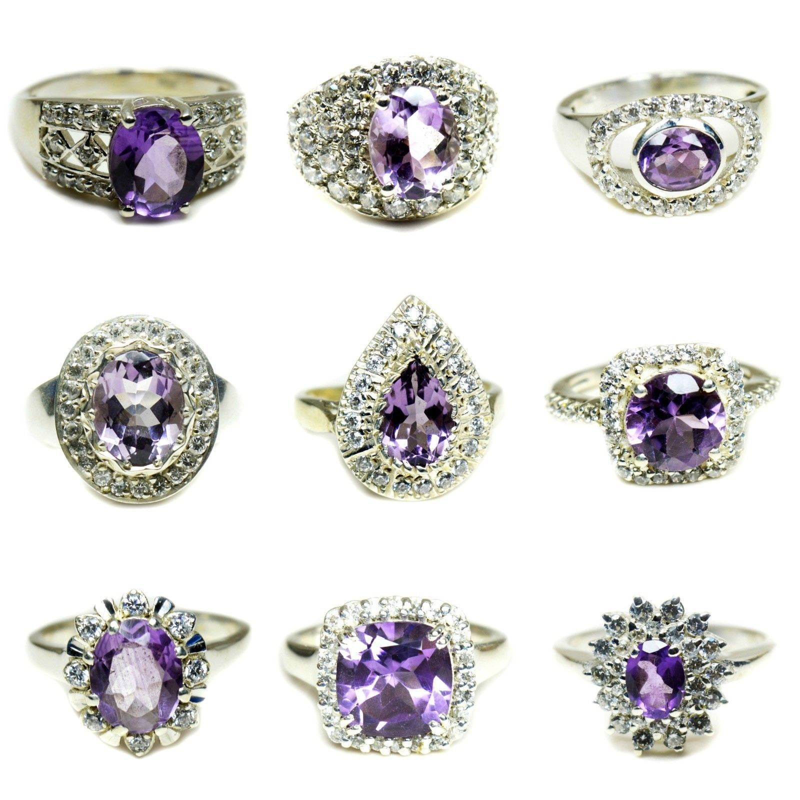 Primary image for Natural Amethyst Halo Ring Silver Purple Stone Jewelry Size 5,6,7,8,9,10,11,12