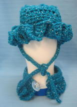 Pet Sets Dog Cat Ruffle Hat & Collar Aqua Blue/Sliver Handmade Crochet b... - $15.00