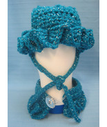Pet Sets Dog Cat Ruffle Hat & Collar Aqua Blue/Sliver Handmade Crochet b... - $15.00