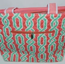 NGIL GUA2121 Quilted Pink Striped Vine Print Coral Green Diaper Bag image 8