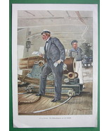 CHRISTMAS on Sailship Sailor Received Mail - VICTORIAN Era Color Engraving - $13.49