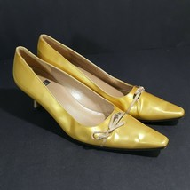 Stuart Weitzman Women's Kitten Heels Gold Patent Leather Soles Size 8.5 - $24.74