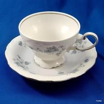 Johann Haviland Blue Garland Footed Cup and Saucer Set White Blue Platinum 7 oz - $9.03