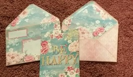 Punch Studio gold embossed Card-BE HAPPY-flowers- WOW envelope! - $3.15
