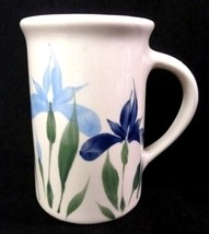 Emerson Creek Pottery Mug Retired Handpainted Bedford VA Blue Iris Floral Cup 96 - $29.37