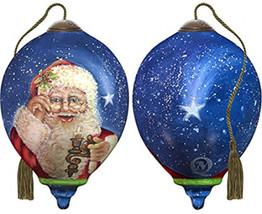 Ne'Qwa Art Hand Painted Blown Glass Magic of Christmas Santa Ornament, C... - $53.95