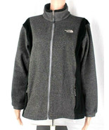 The north face womens fleece black gray jacket full zip long sleeve size M - $22.90