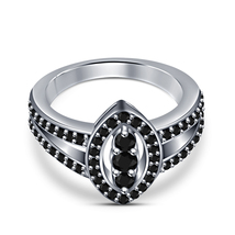Women's Band Engagement Ring Black Diamond White Gold Plated 925 Sterlin... - $81.99